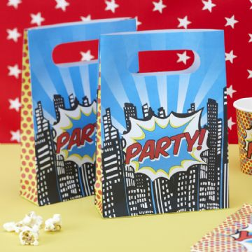 Pop Art Superhero Party Loot Bags - pack of 8